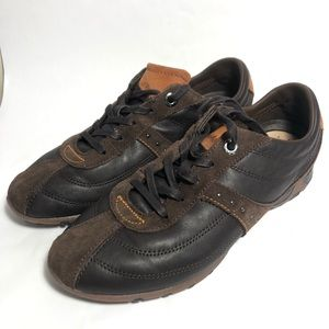 Geox respira Men's Leather Sneakers Dark Chocolate